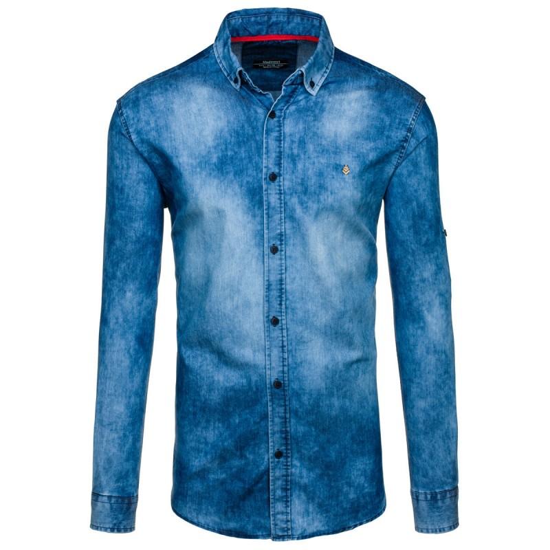 1f7a07dadc59 Pánska modrá riflová košeľa s dlhým rukávom - fashionday.eu