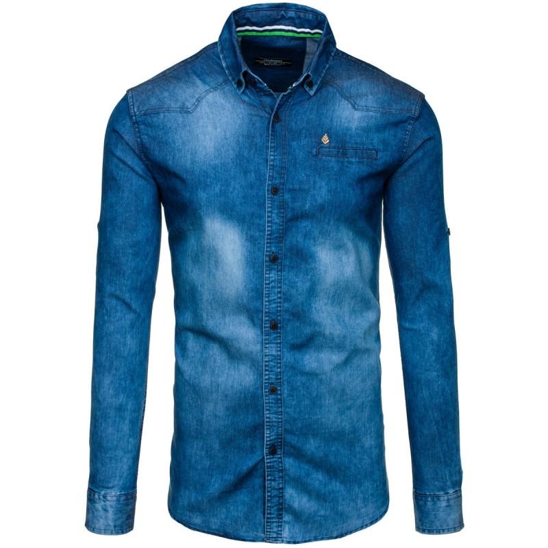 a5c9718a3c76 Modrá riflová pánska košeľa s dlhým rukávom - fashionday.eu