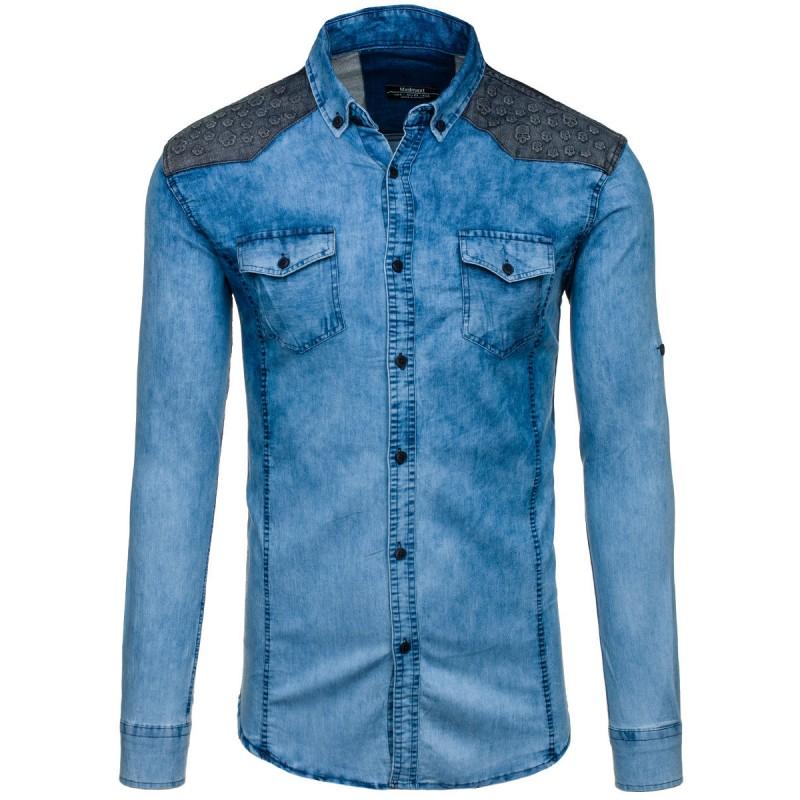 1c374b45be Svetlomodrá riflová košeľa so vzorom na ramenách - fashionday.eu