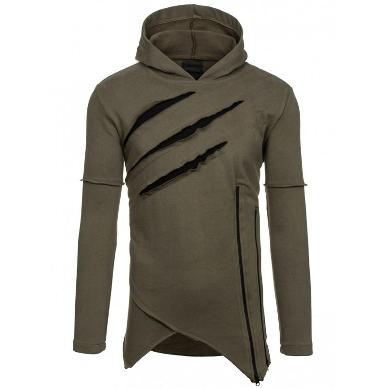 a045cc94c2b3 Dlhá pánska mikina s kapucňou v khaki farbe - fashionday.eu
