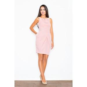 Plesové puzdrové šaty nad kolená v slabo ružovej farbe