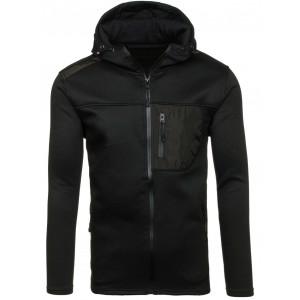 Mikina pre pánov na zips v čiernej farbe s lesklým vreckom