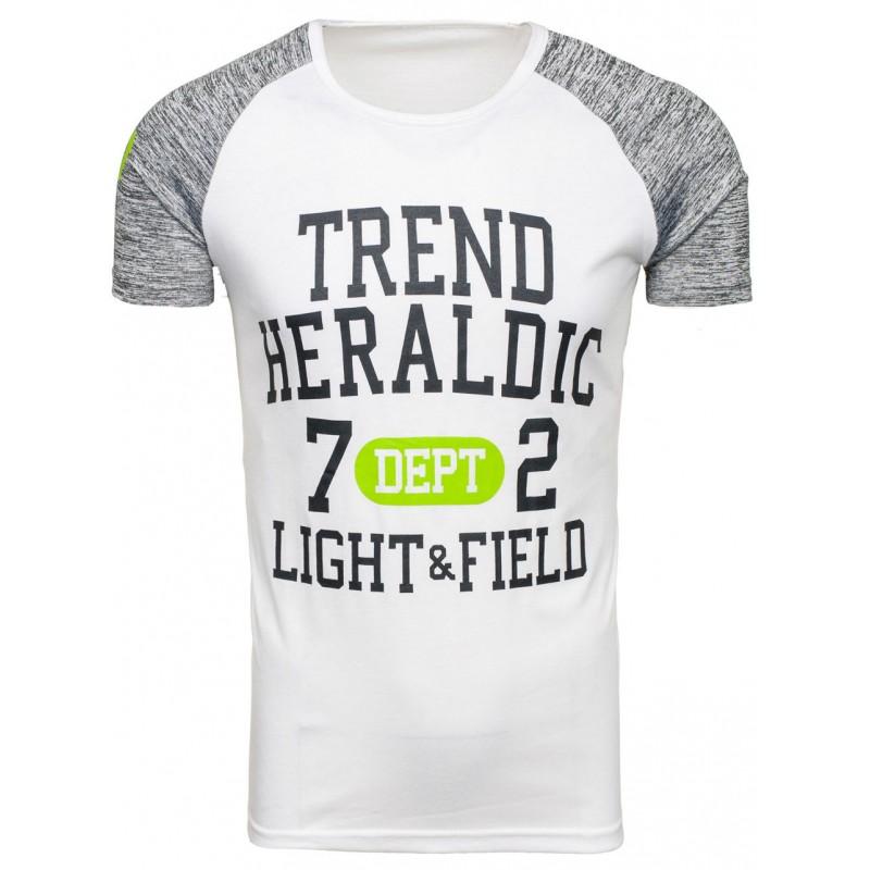 8e64557c52c6 Biele pánske športové tričko s nápisom so sivými rukávmi - fashionday.eu