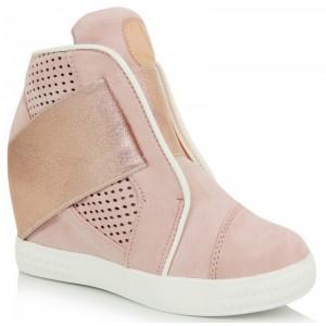 Pohodlné dámske členkové topánky ružovej farby