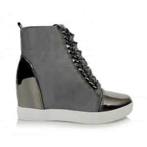 Dámske sivé členkové topánky na zips s dekoračnými šnúrkami