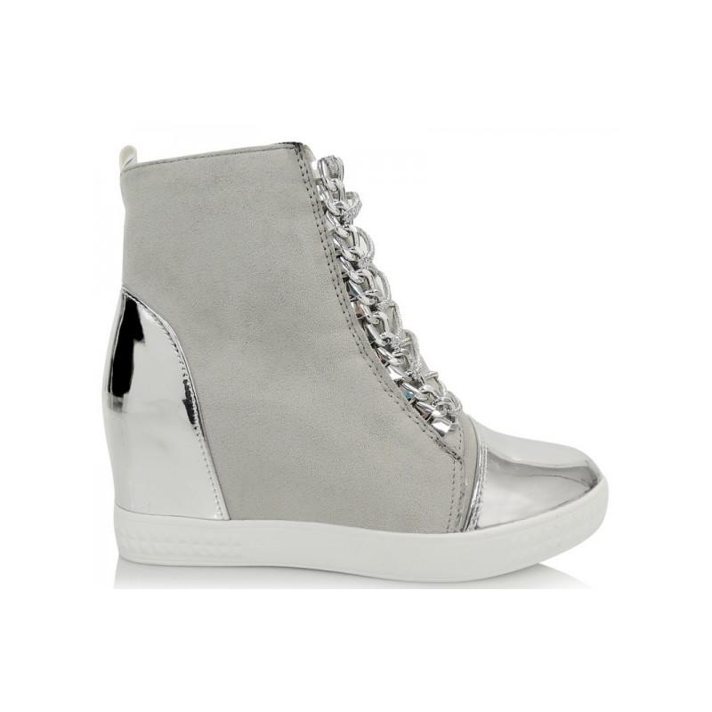5a30790974d1 Predchádzajúci. Elegantné členkové topánky na platforme v svetlosivej farbe  so ...