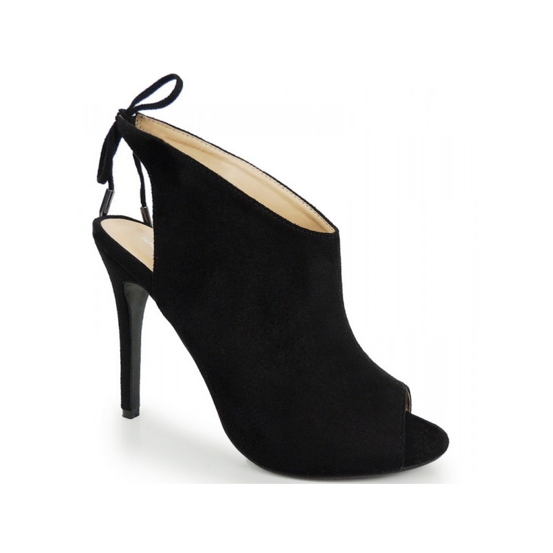 Predchádzajúci. Dámske semišové topánky v čiernej farbe s otvorenou špičkou  ... e22227d4202
