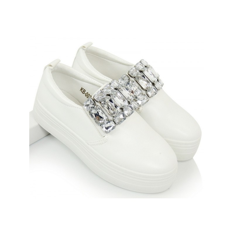 24c081686 Biele dámske tenisky s kamienkami - fashionday.eu