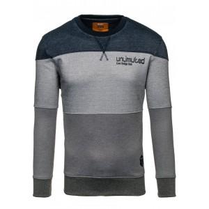 Pohodlný pánsky pruhovaný sveter v sivej farbe s nápisom