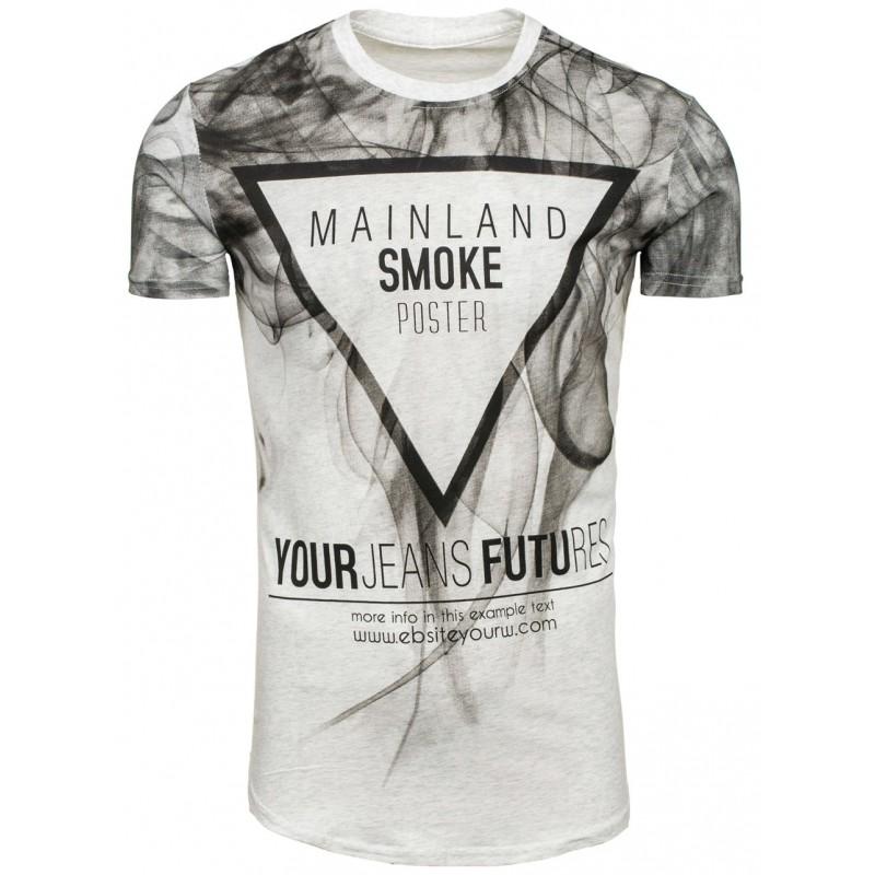 68a1554f4 Sivé pánske tričko s krátkym rukávom s dymovým motívom - fashionday.eu