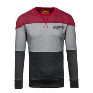 Bordovo sivý pánsky sveter s okrúhlym výstrihom