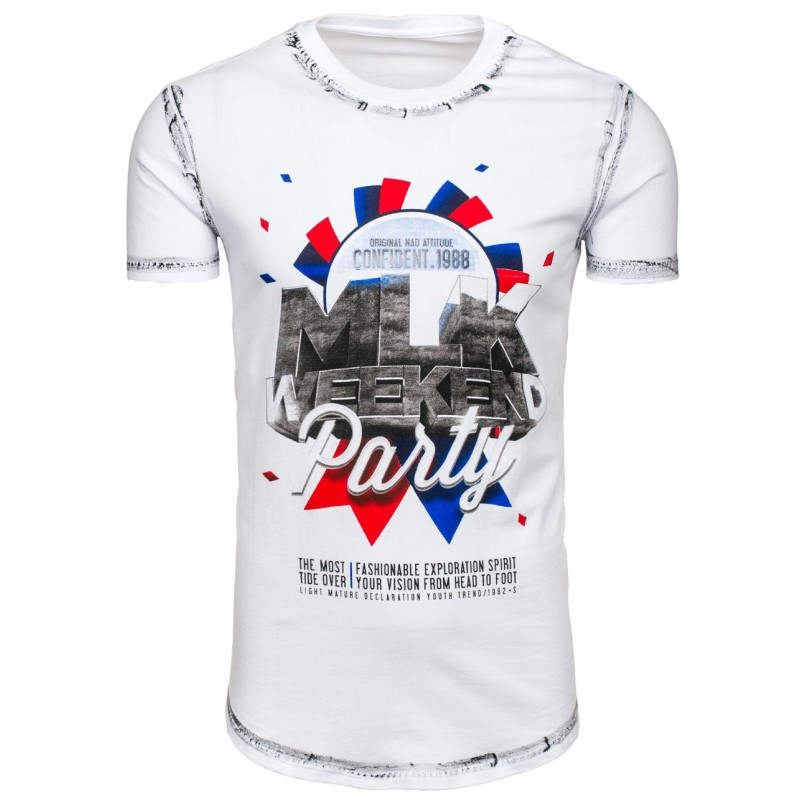 2fbb4c5b9a5a Predchádzajúci. Pánske bavlnené tričká s krátkym rukávom a potlačou bielej  farby