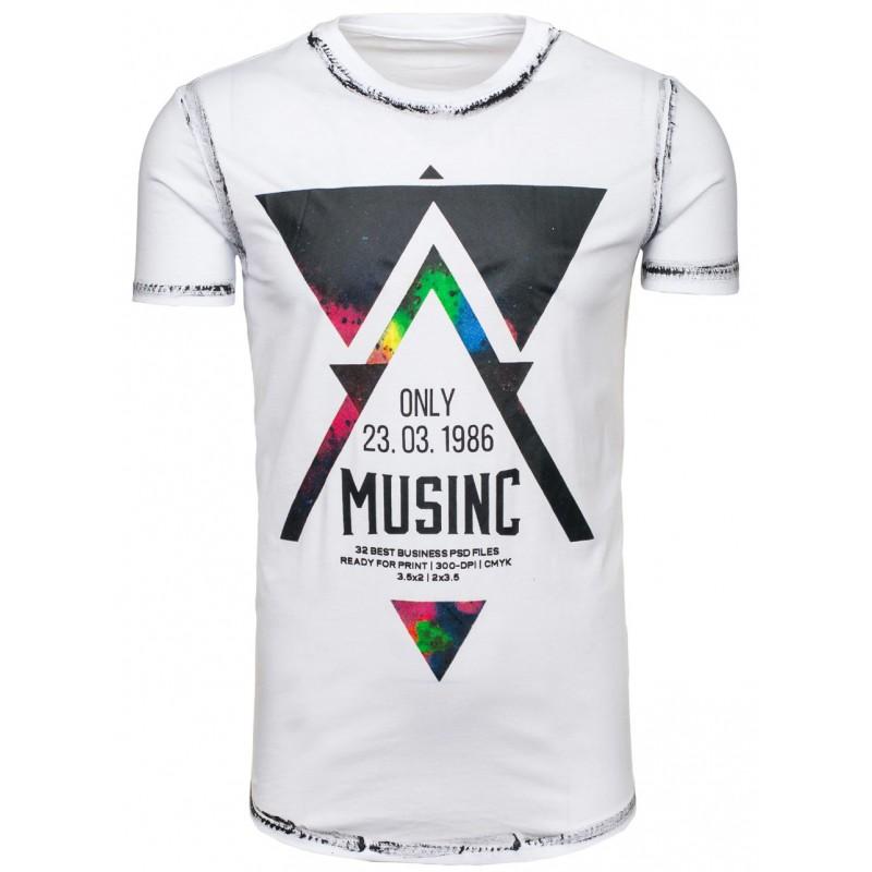 ac7cc042fe53 Značkové pánske tričko bielej farby s potlačou - fashionday.eu