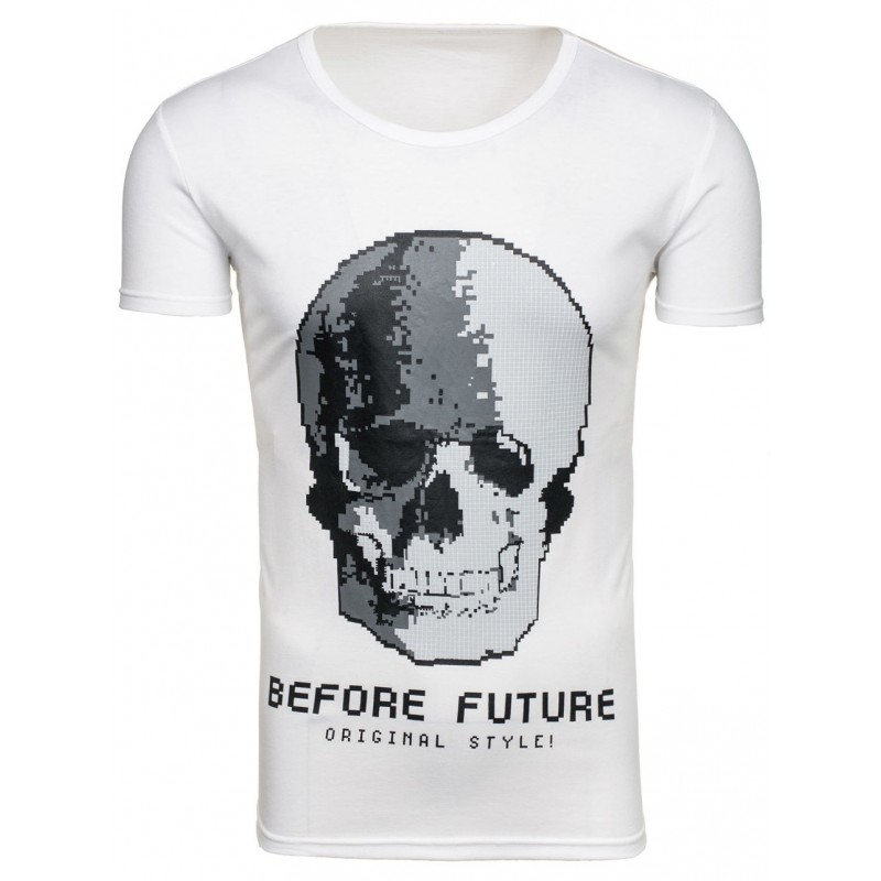 4fb6b9fcce51 Biele pánske tričká s krátkym rukávom s potlačou lebky - fashionday.eu