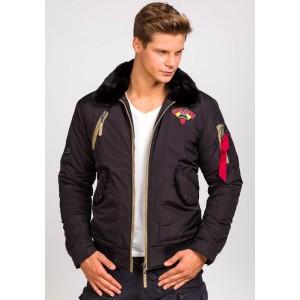 Jarná pánska bunda s kožušinou v čiernej farbe