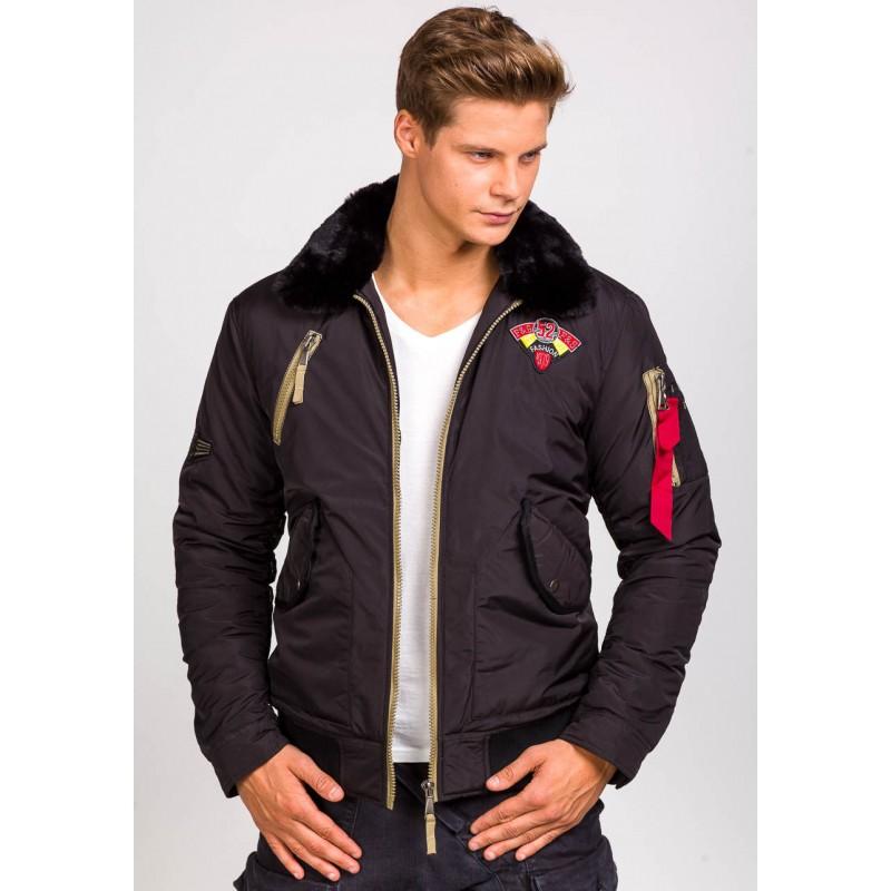 Jarná pánska bunda s kožušinou v čiernej farbe - fashionday.eu 18ac3f90c4f