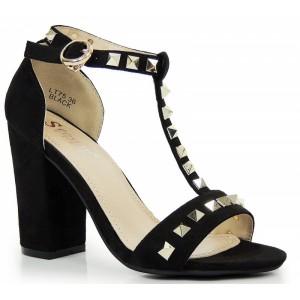 Semišové sandále na hrubom opätku so šperkami a prackou v čiernej farbe
