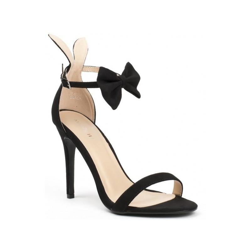 1ae750ddb05d2 Čierne semišové sandále na vysokom opätku s mašľou - fashionday.eu