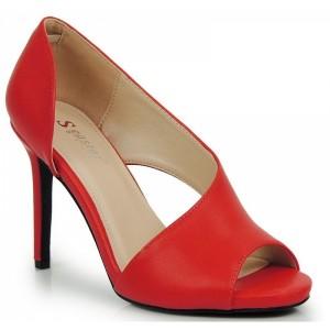 Pohodlné dámske lodičky červenej farby s otvorenou špičkou