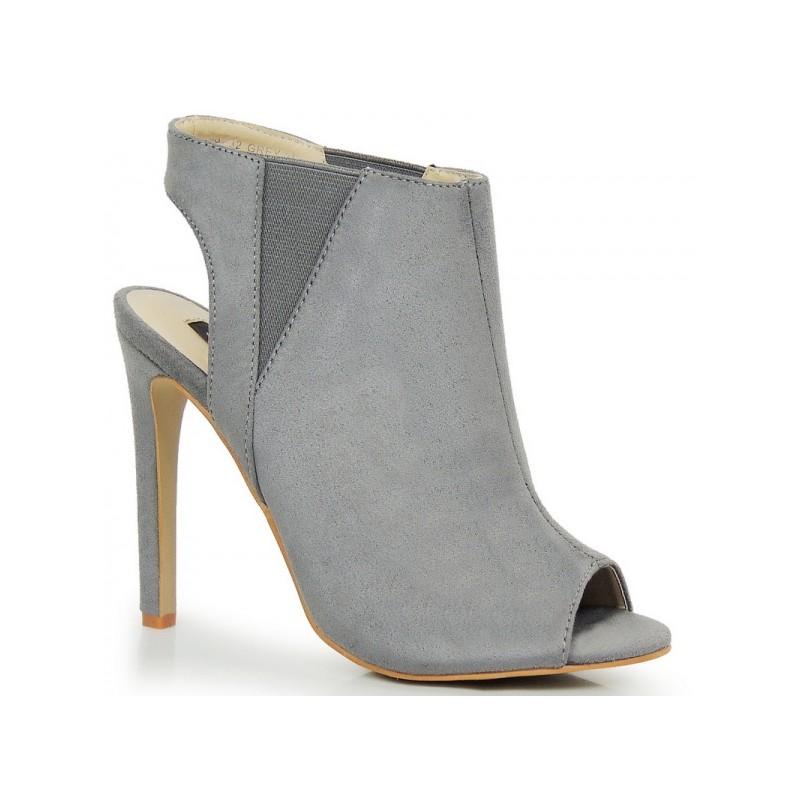 Dámske sivé topánky na vysokom opätku s otvorenou špičkou a pätou ... 39d9d034011