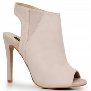 Dámske semišové topánky v ružovej farbe s otvorenou pätou
