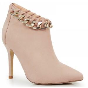 Ružové dámske semišové topánky s retiazkou a zipsom na päte