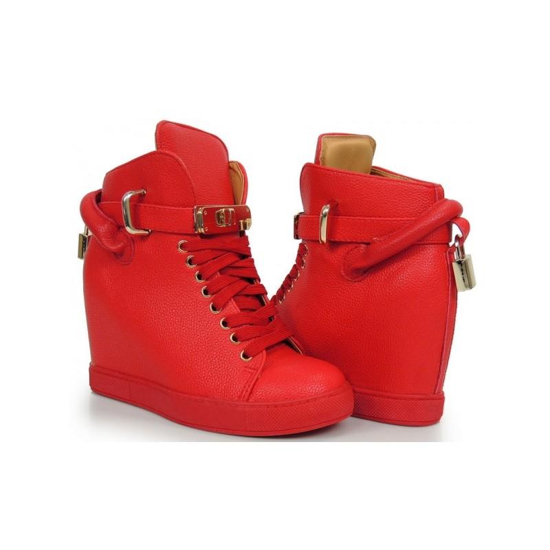 85514143100a Červené dámske členkové topánky na opätku na šnurovanie - fashionday.eu