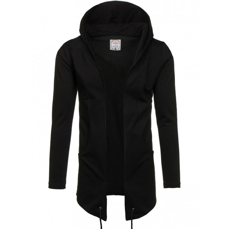 e3286825e868 Dlhá pánska čierna mikina s kapucňou bez zapínania - fashionday.eu
