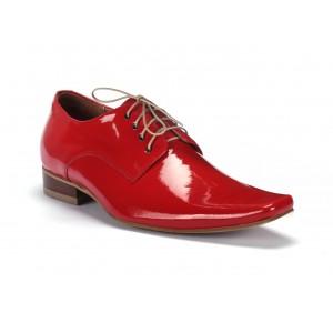 Pánske červené lesklé kožené topánky COMODO E SANO