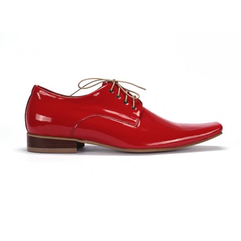 f23a1d3558268 Pánske červené lesklé kožené topánky COMODO E SANO · Pánske červené lesklé  kožené ...