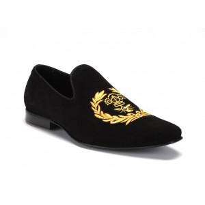 Luxusné pánske kožené mokasíny čierne s ornamentom COMODO E SANO