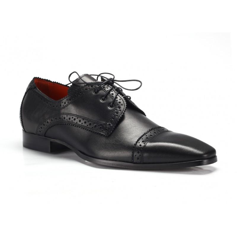 493a100903 Čierne kožené pánske spoločenské topánky COMODO E SANO - fashionday.eu