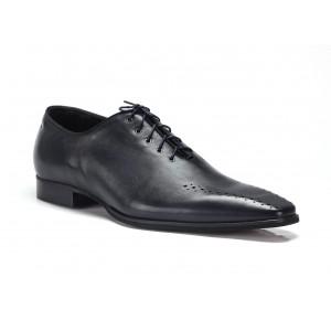 COMODO E SANO spoločenská pánska kožená obuv tmavomodrej farby