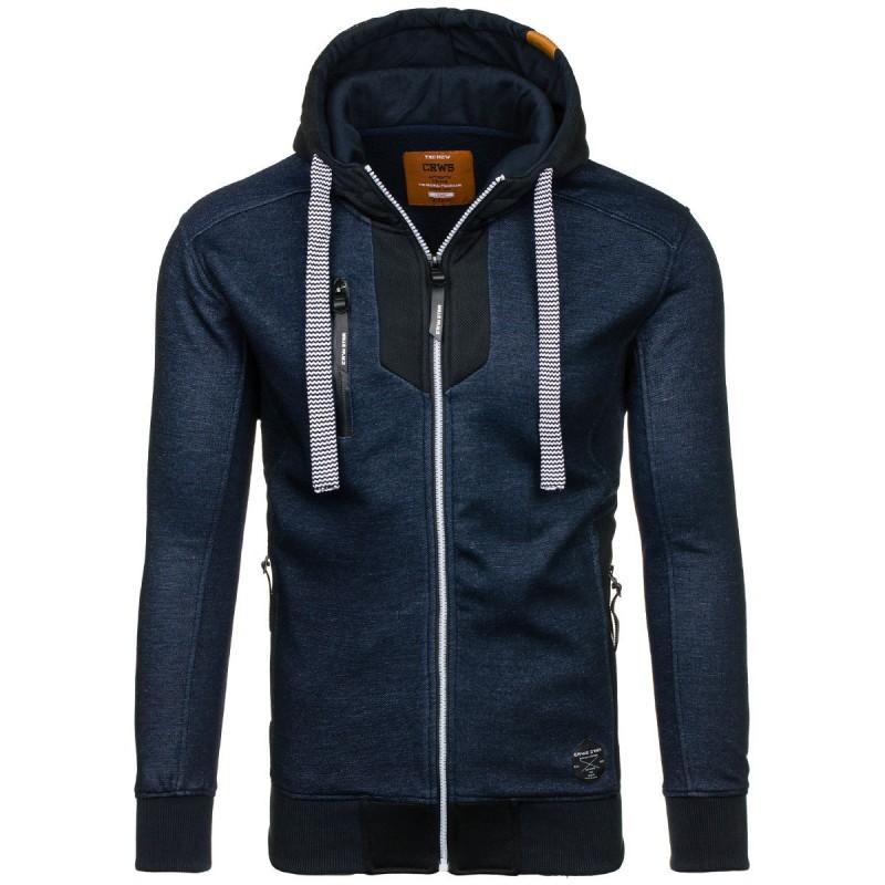 dacbf5c643a2 Modré pánske mikiny s kapucňou a zipsom - fashionday.eu
