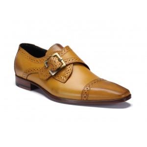 Žlté štýlové kožené topánky na pracku COMODO E SANO