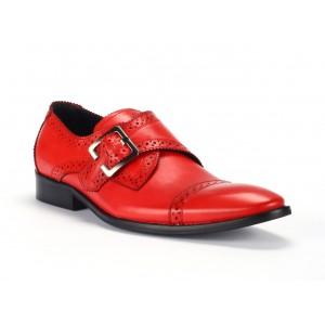 Pánske červené kožené topánky s prackou a imitáciou dierok COMODO E SANO
