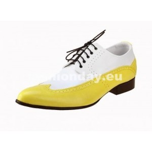 Pánske kožené extravagantné topánky bielo-žlté