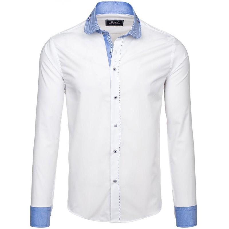 4b16f4b42af0 Predchádzajúci. Pánska biela košeľa s dlhým rukávom s modrým lemovaním ...
