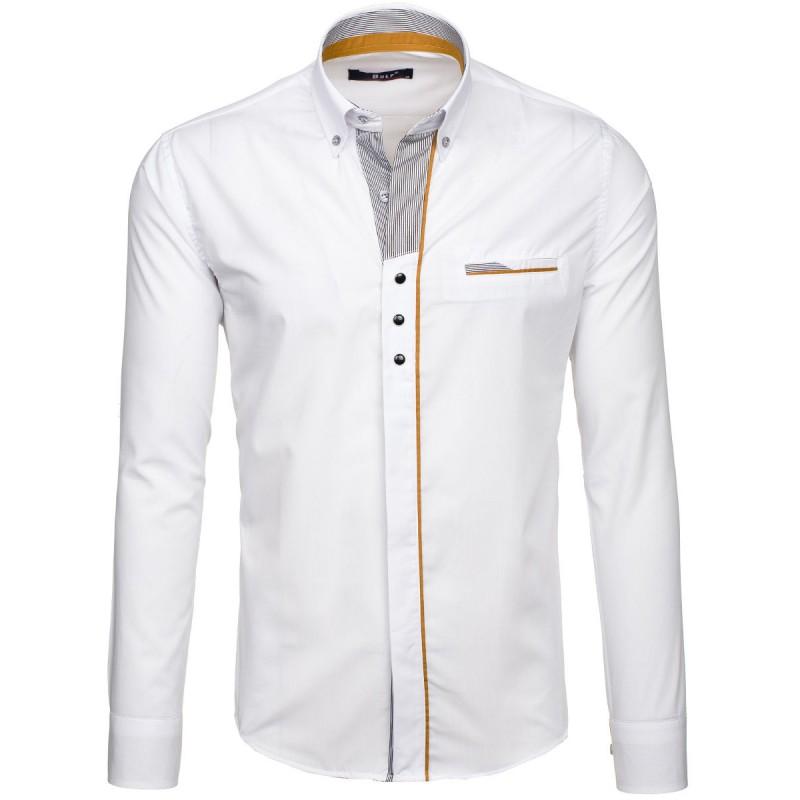93acaf58f7e3 Originálna biela pánska košeľa so skrytými gombíkmi - fashionday.eu