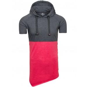 Tričko s krátkym rukávom v červeno sivej farbe