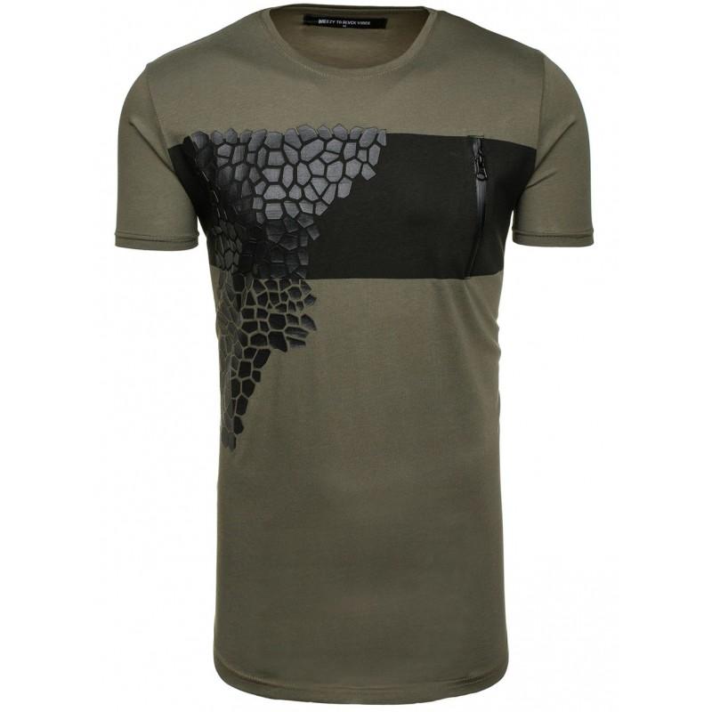 396eb8ff3201 Štýlové pánske tričko v zelenej farbe s motívom - fashionday.eu