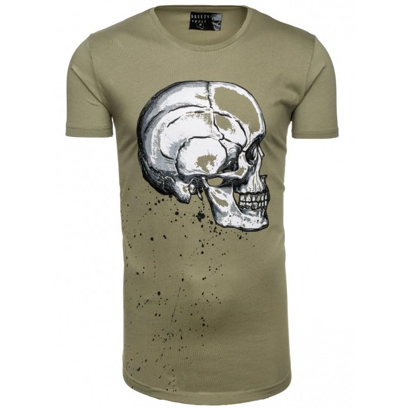 Moderné pánske tričko zelenej farby s motívom lebky - fashionday.eu 2323987d175