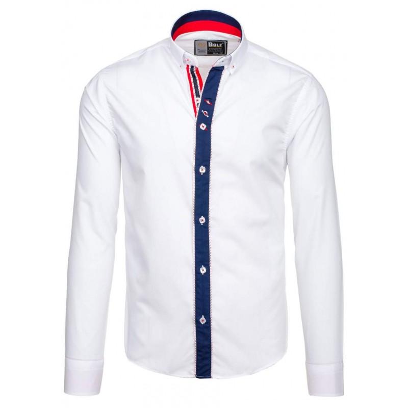 83d194ef4bcc Štýlová biela slim košeľa pre pánov s lemom okolo gombíkov ...