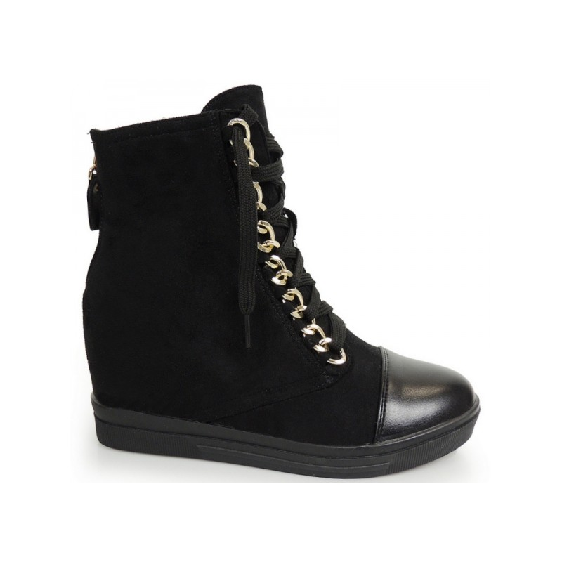 09c4fdc9d0a7 Čierne členkové topánky s platformou na šnúrky - fashionday.eu