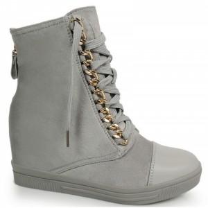 Členkové dámske topánky tmavosivej farby so zipsom na päte