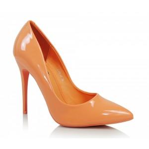 Oranžové dámske lodičky na vysokom opätku so špicatou špičkou
