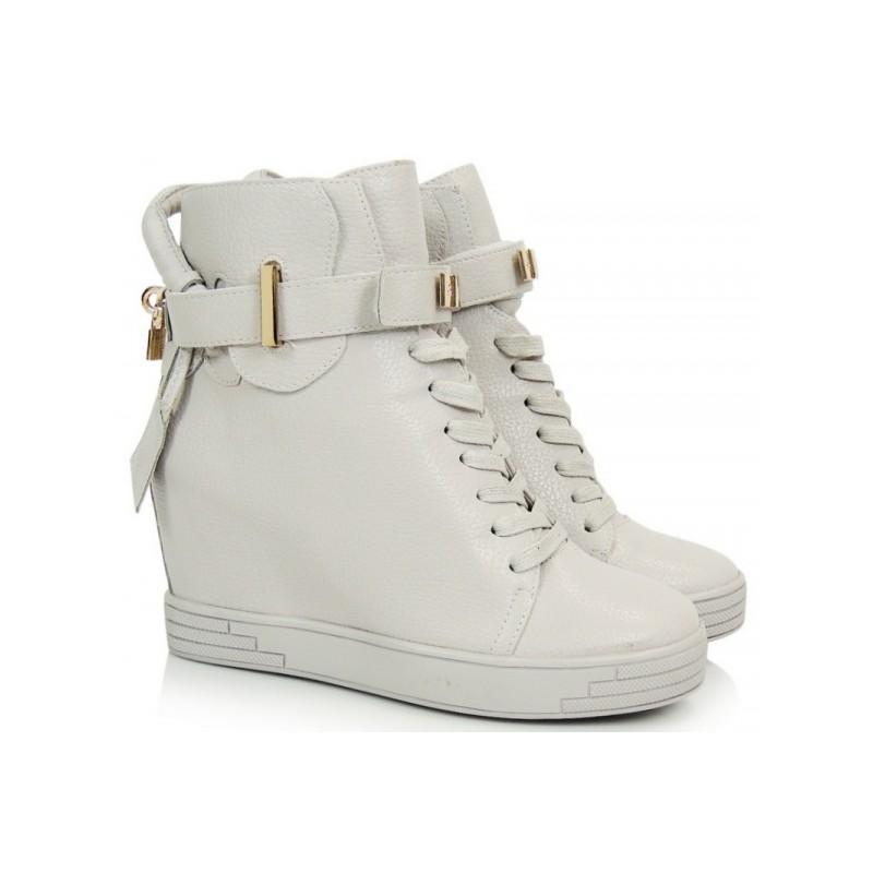 16244d74748a Dámske členkové šnurovacie topánky na platforme sivej farby ...