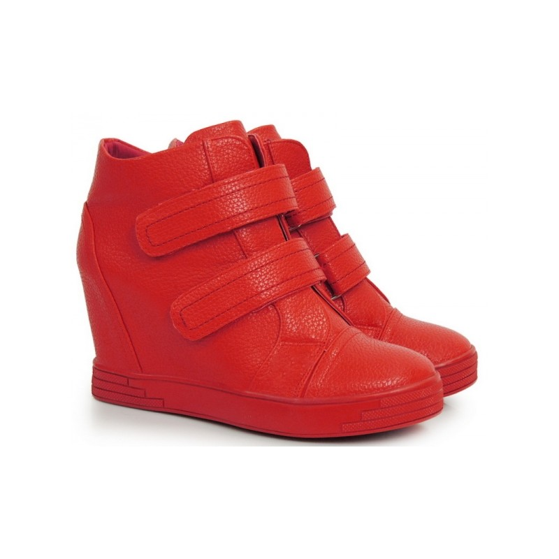 e22a1f9a18b58 Červené členkové topánky na platforme so zapínaním na suchý zips ...