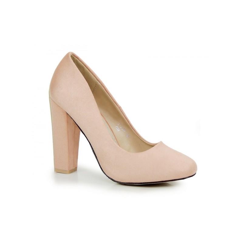 19d2247e2041 Svetlo ružové dámske lodičky na hrubom opätku - fashionday.eu