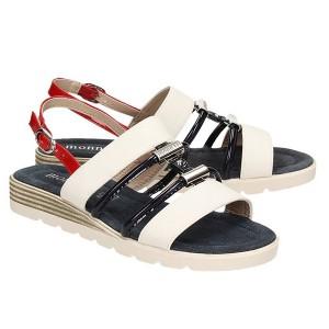 Značkové dámske sandále bielej farby na leto so zapínaním na pracku